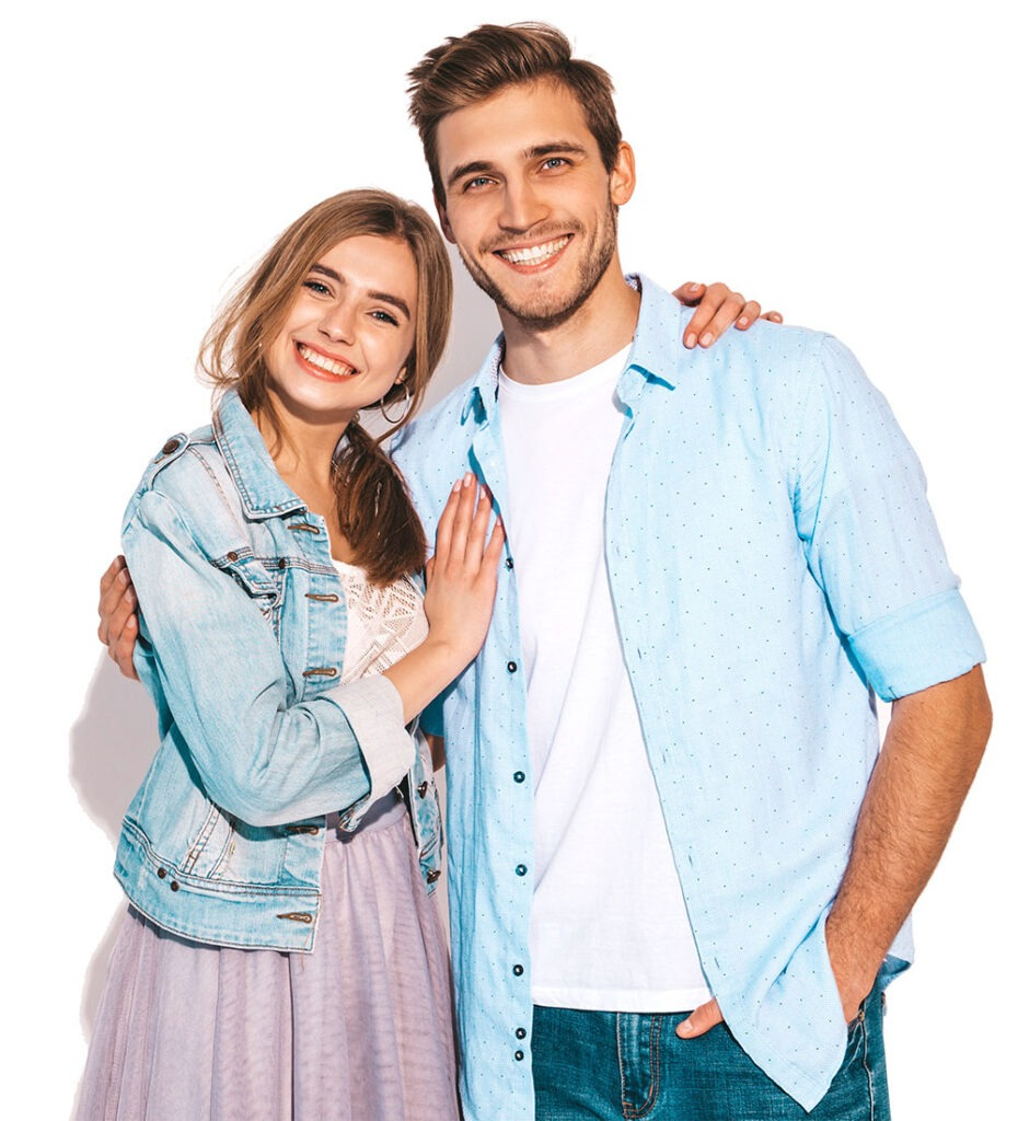 happy smiling couple with white teeth